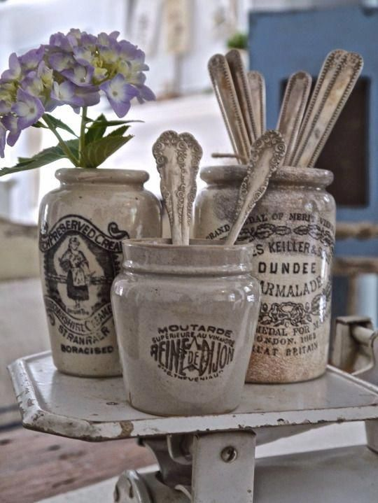 vintage vignette with pretty antique advertising ironstone