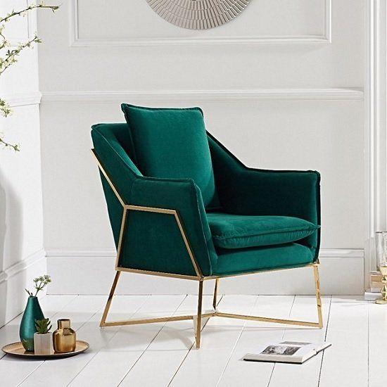 Modern Accent Chair In Green Velvet