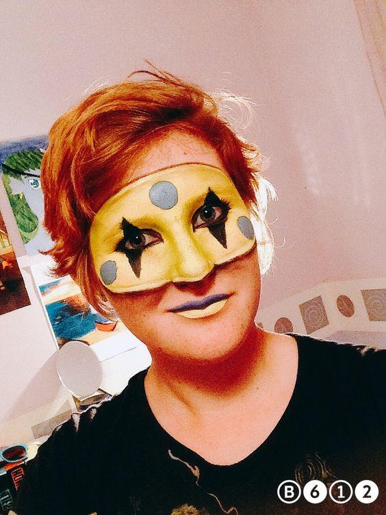 Kill joy painted on mask.
