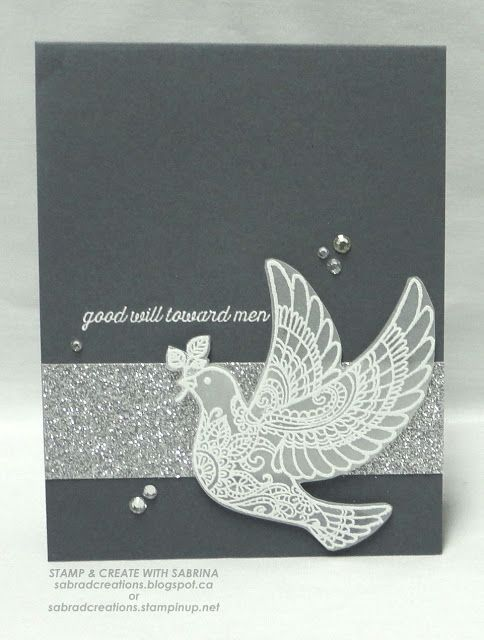 STAMPS: Dove of Peace. CARD STOCK: Basic Gray, Vellum, Silver Glimmer. INK: Versamark. OTHER: Embossing Buddy, White EP, Heat Tool, Rhinestones, Glue Dots, Tear & Tape Adhesive.