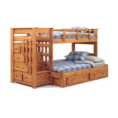 Mattress built ins and bunk bed plans on pinterest - Loft bed with drawer stairs ...
