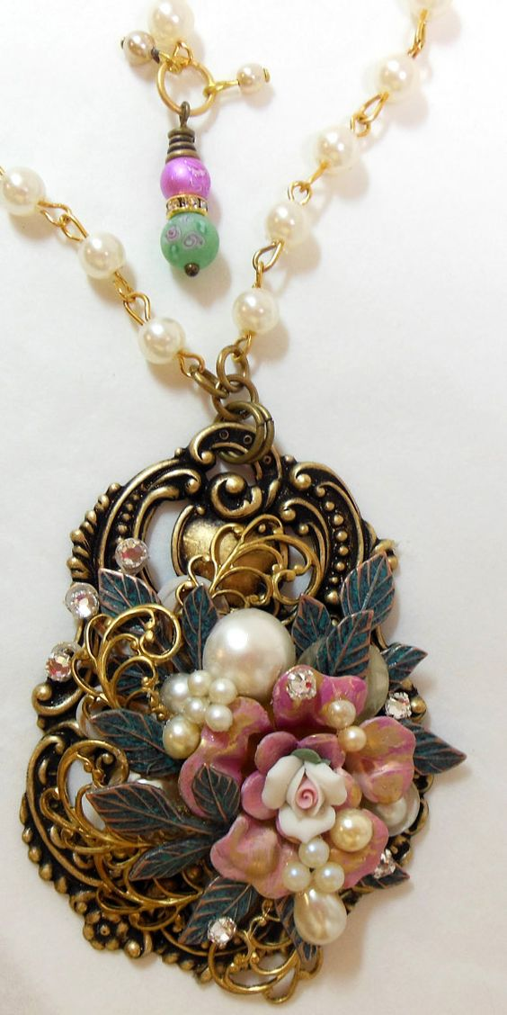 Victorian Floral Pendant Assemblage by bsueboutiquesjewelry, $32.00