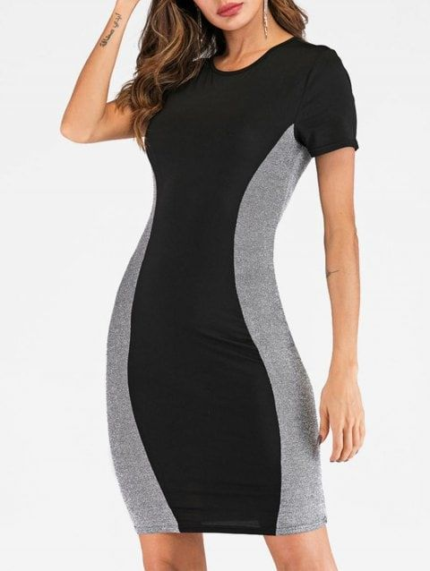 As U Wish Womens Colorblock Mesh Sequin Stretch Bodycon Dress