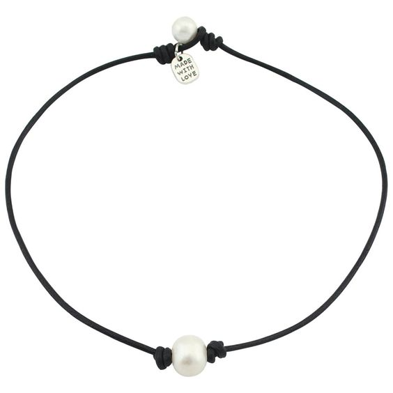 Amazon.com: Freshwater Single Pearl Necklace Choker on Genuine Leather Cord…