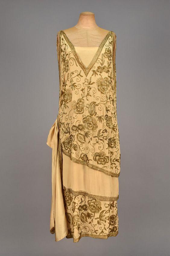 Ivory silk evening dress