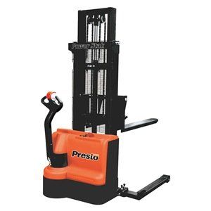 Stacker, Motorized, Electric, Cap 2200 Lbs. by Unknown. $11486.48. Stacker, Motorized, Electric, Load Capacity 2200 lbs., Max. Lifting Height 150 In., Lifting Height Min. 3-1/2 In., Lifting Height Forks Up 150, Lifting Height Forks Down 2-1/2, Overall Length 73 In., Overall Width 48 to 58 In., Overall Height 99 In., Base Legs Inside Dia. 40 to 50 In., Base Legs Outside Dia. 48 to 58 In., Lift Speed Unloaded 4.9 sec., Load Center 24 In., Fork Length 42 In., Fork Width 6 In...