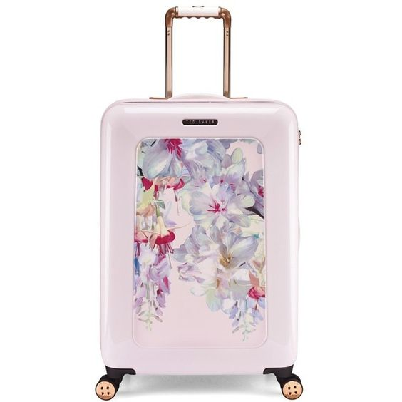 Women's Ted Baker London 'Medium Hanging Gardens' Four Wheel Suitcase (¥44,860) ❤ liked on Polyvore featuring bags, luggage and pink