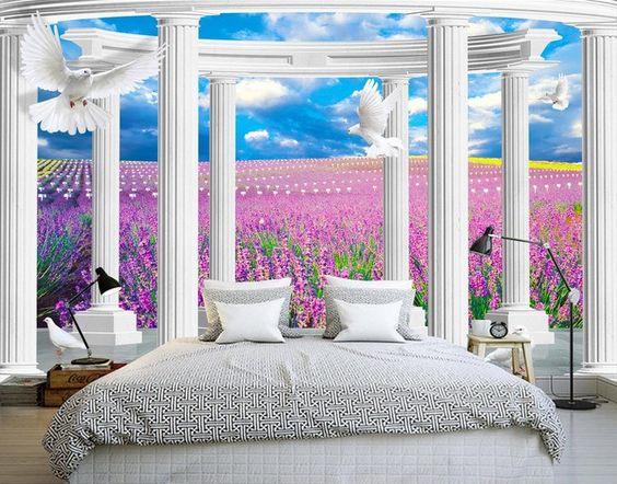 D cor trompe l 39 oeil effet 3d paysage romantique dans le Decoration trompe l oeil