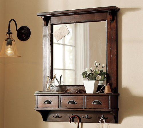 Foyer Mirror Cabinet : Wall mount entryway organizer mirror hallway coat rack key