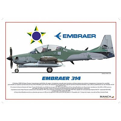 Perfil - Poster Embraer 314 Super Tucano Força Aérea Brasileira