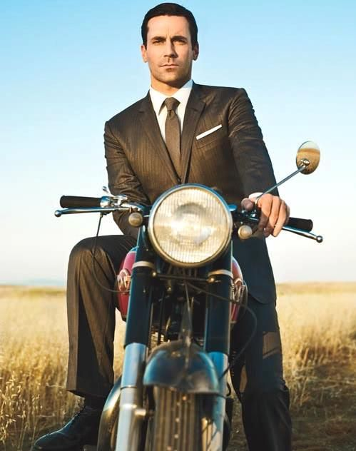 Honestly, I think Don Draper would be a more of a Vespa man.  It would allow him to wear his suit without creasing it (as much) and keep his shoe shine nice.  Oh, sharp looking photo though