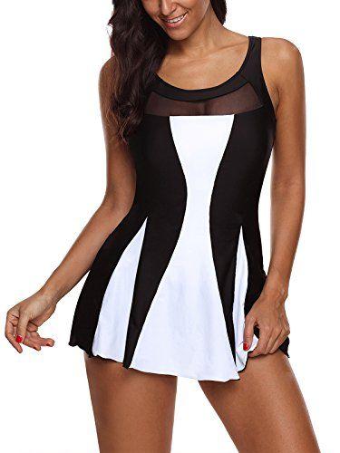 MiYang Womens Black Mesh One Piece Vintage Swimsuit Tank Swimwear