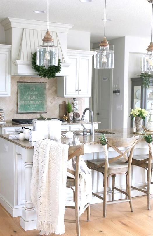 New Farmhouse Style Island Pendant Light In 2020 Eat In Kitchen Table Beautiful Kitchens Rustic Modern Kitchen