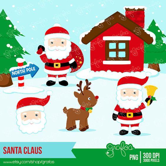 SANTA CLAUS Digital Clipart, Christmas Clipart, Santa Clipart, North Pole Clipart / Instant Download