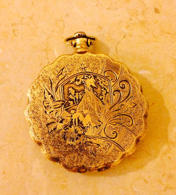 Max Factor Powder Puff in pocket watch design compact, 1970's  on Etsy, $40.00