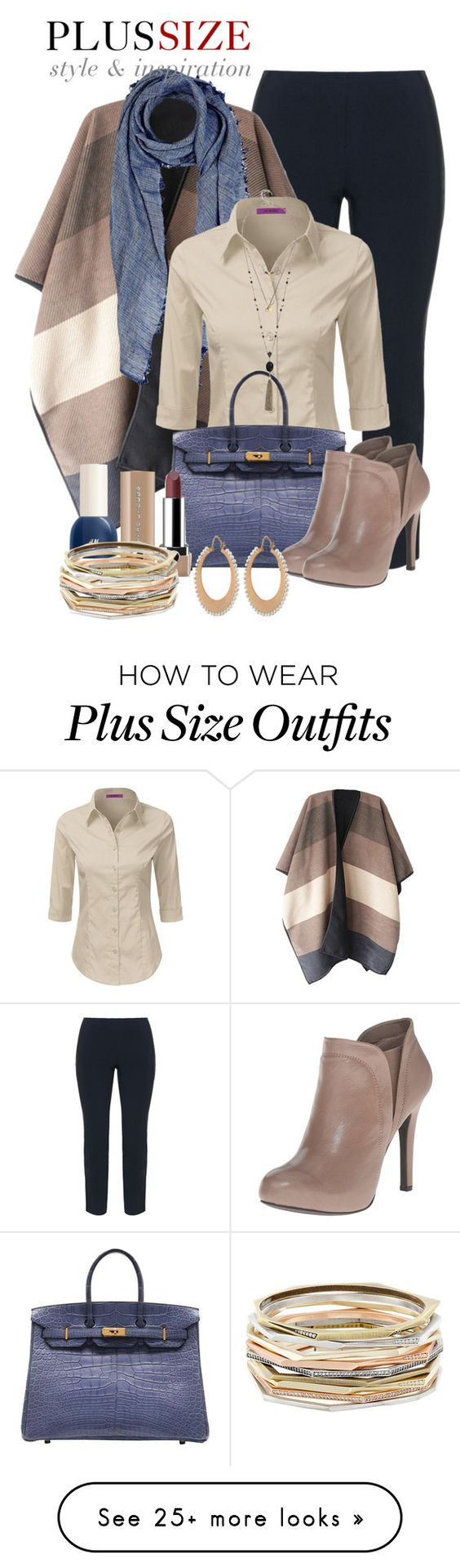 """Work Outfit -- #Plus Size"" by kimberlyn303 on Polyvore featuring Manon Baptiste, Barneys New York, Hermès, GUESS, H&M, Marc Jacobs, Irene Neuwirth and Kendra Scott"