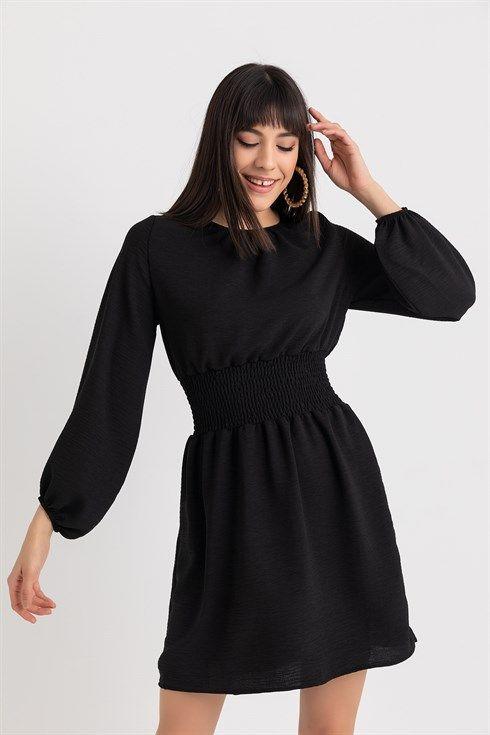 Bel Gipe Duz Elbise Siyah 2020 Elbise Moda Stilleri Mini Elbise