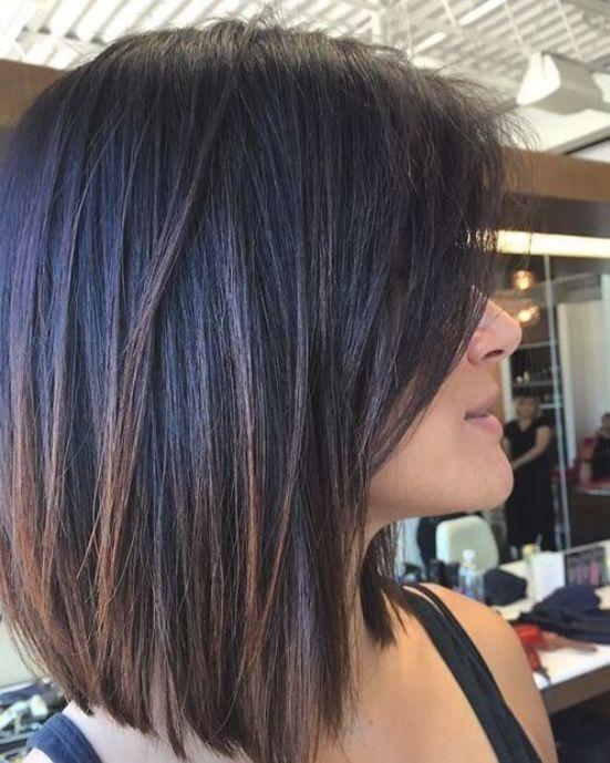 Graceful Medium Length Haircut On Dark Straight Hair Bob Hairstyles For Thick Thick Hair Styles Hair Styles
