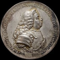 """Netherlands - Medal 1747 """"The students of the University of Leiden to the governor William IV of Orange - silver"""