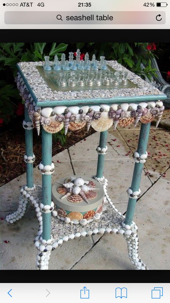 Seaside chess/checkers diy shell table