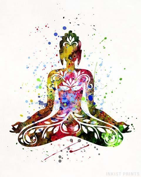 Buddha and Butterfly Yoga Pose Watercolor illustrations Print Wall Art Poster