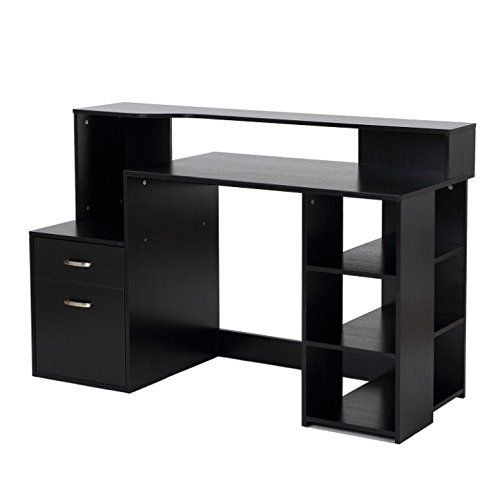 Black Computer Desk 2 Easy Glide Drawers Bookshelf Storage Shelves Printer Table Board Laptop Noteboo Modern Shelving Modern Home Office Desk Bookshelf Storage