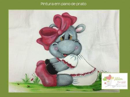 Pano de prato - pintado à mão - hipopótamo fêmea - Além Brasil