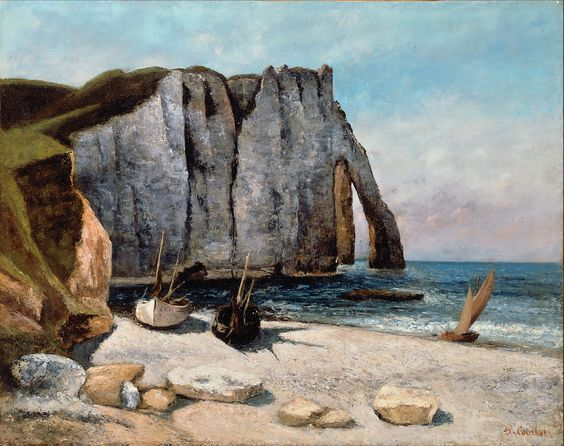 Gustave Courbet - Falaise d'Étretat aprés, la Porte d'Aval, oil on canvas