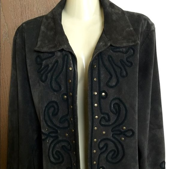 Chico's suede leather jacket Chico's dark brown suede jacket, size states: size 3. Super soft‼️Not sure how Chico's sizes work but this jacket seems like a ladies XL. It has beautiful embroidery details and gold studs throughout. One small stain on the collar, barely noticeable. Collared, and open style. Genuine Leather. Excellent condition! ❤️❤️ Chico's Jackets & Coats Blazers