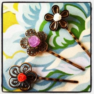 Pick Your Plum hair pins and flowers