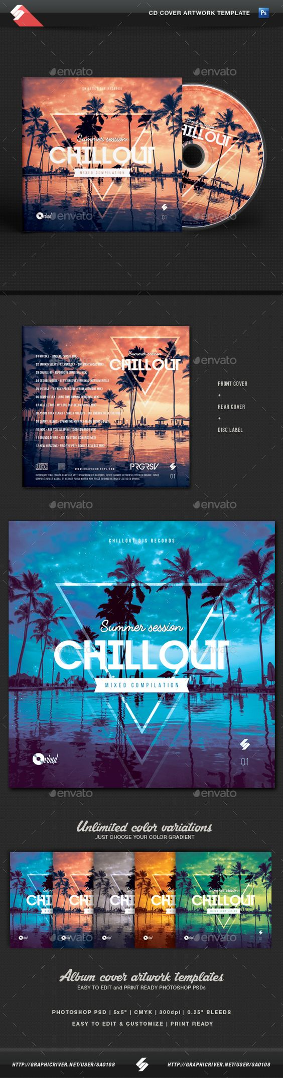 Summer Session - Chillout CD Cover Artwork Template - CD & DVD Artwork Print Templates.Download here: http://graphicriver.net/item/summer-session-chillout-cd-cover-artwork-template/16279683?ref=arroganttype