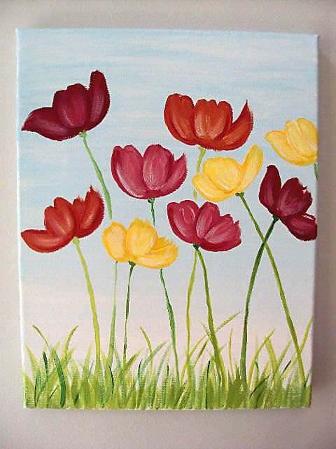 11x14 flower canvas art pinterest acrylics spring for Flower paintings on canvas