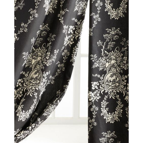 """Pacific Coast Home Furnishings Two """"French Toile"""" Curtains (£400) ❤ liked on Polyvore featuring home, home decor, window treatments, curtains, black, black curtains, lining curtains, french toile curtains, french home decor and toile home decor"""