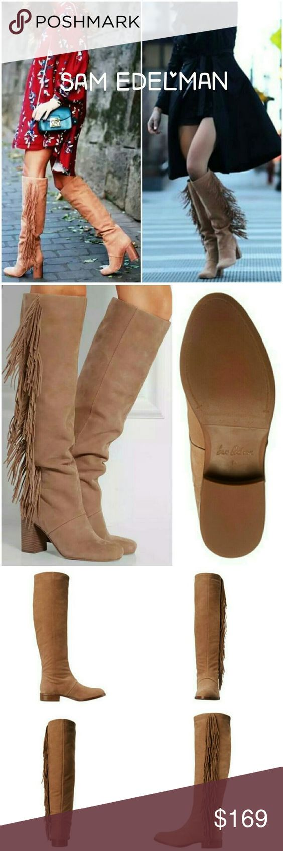 Sam Edelman Josephine fringe boots sz 6 Originally $275  New in original box!  Genuine leather upper. Pull-on construction. Fringe detail cascades down side. Man-made lining and insole. Stacked block heel. Synthetic outsole. Imported.  Heel Height: 1 1?4 in Shaft: 19 in  Complete your boho look with these boots. Perfect for fall & winter.               Tags: anthropologie, free people, Stuart Weitzman, Jeffrey campbell, Sam Edelman boho boots, fringes, bargain Sam Edelman Shoes