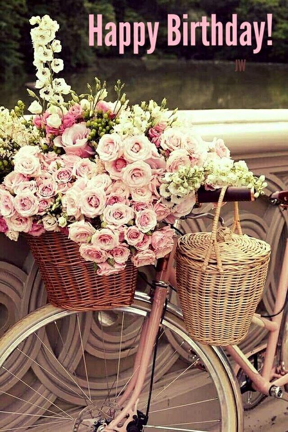 Happy Birthday Bike Basket.