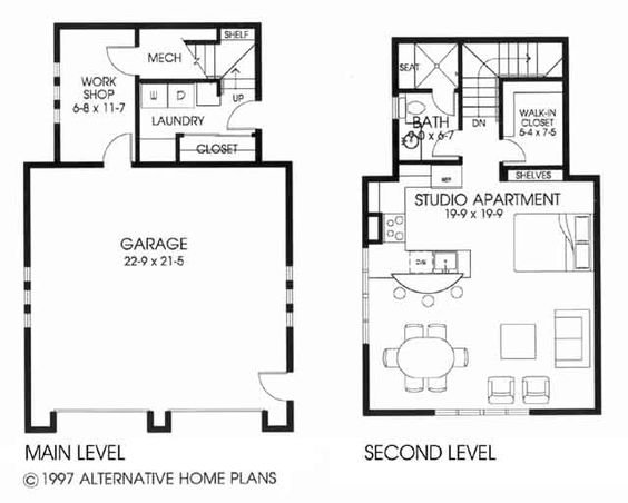 Detached garage garage and car garage on pinterest for Apartment over garage floor plans