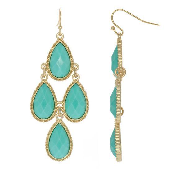 Robins Turquoise Pear Drop Chandelier Earrings – Aqua Chandelier Earrings