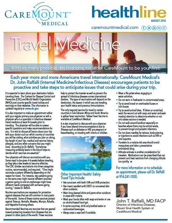 Patient Education  Travel Medicine What To Keep In Your Medicine