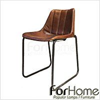[ ForHome ] MH-288 Vintage Industrial 工業 LOFT 仿舊 線型軟墊駱駝皮格蘭餐椅
