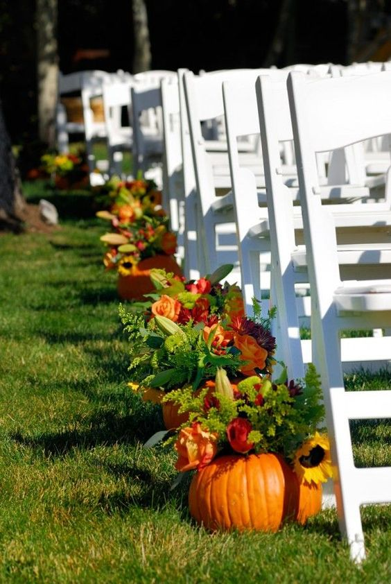 Fall wedding wedding ideas and pumpkins on pinterest for Autumn wedding decoration ideas
