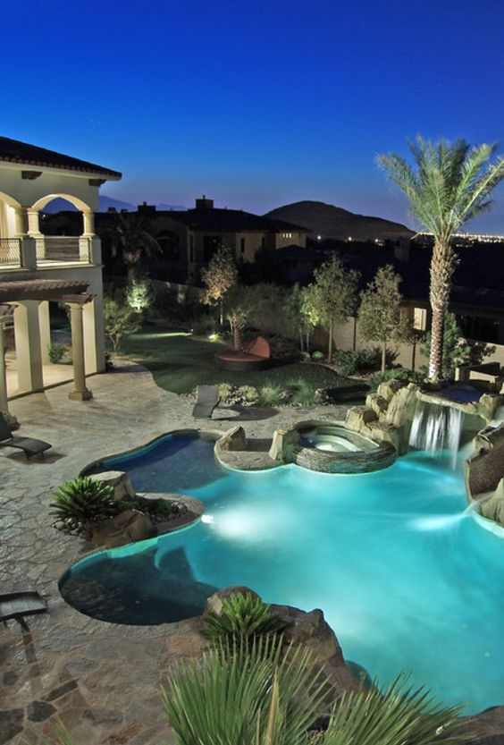 Backyards plants and nice on pinterest for Nice houses with pools