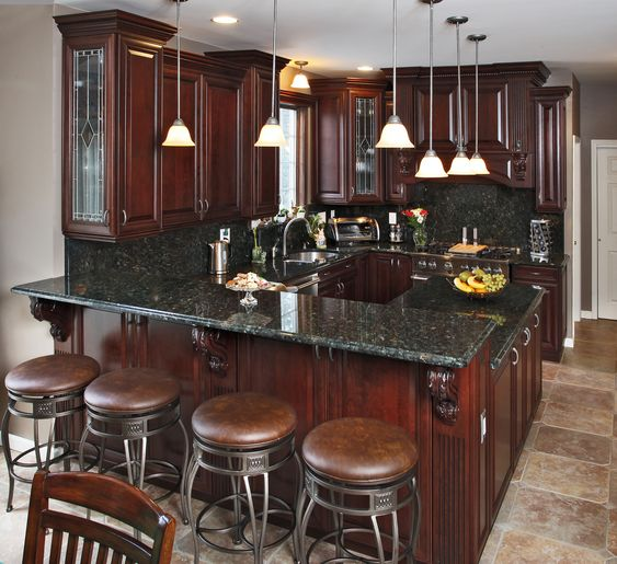 Cordovan Cherry with Sable Glaze Cabinets #CabinetRefacing