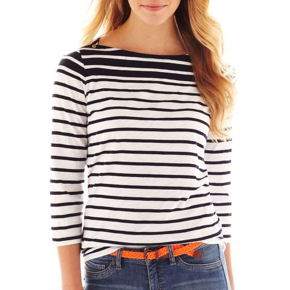 jcpenney - jcp™ 3/4-Sleeve Striped Boatneck Button-Shoulder Tee - jcpenney