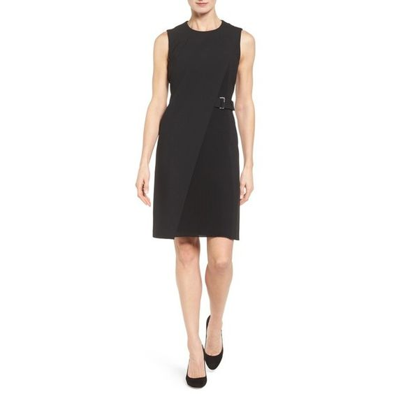 Women's Boss Dakila Sheath Dress ($695) ❤ liked on Polyvore featuring dresses, black, pleated cocktail dress, pleated dress, pleated evening dress, panel dresses and special occasion dresses