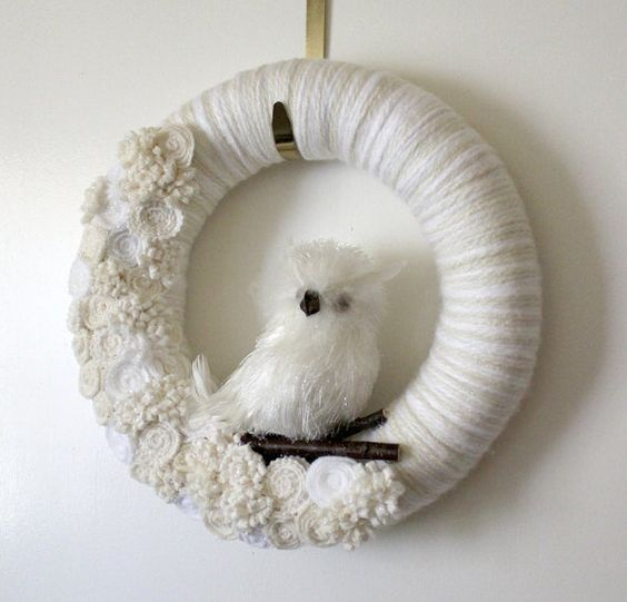 White Owl Wreath Icy Owl Wreath Winter Wreath by TheBakersDaughter