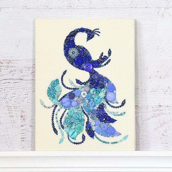 Button Art Bird Of Paradise Blue Bird Home Decor Blue