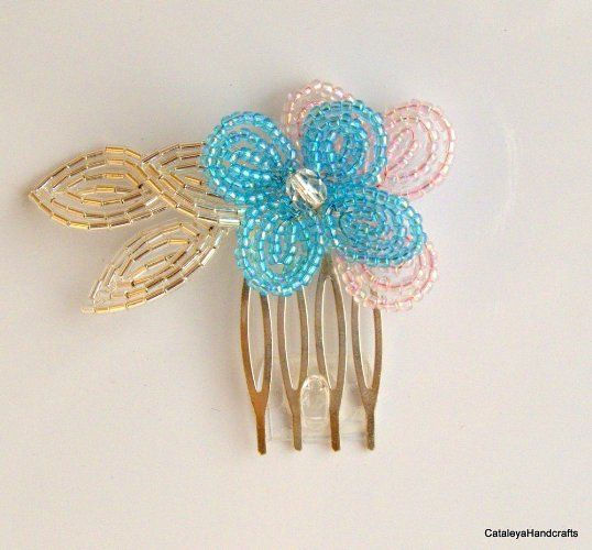 Beaded Pink and Blue Mini Hair Comb