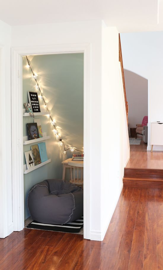 Unused Closet To Cozy Book Nook At Home In Love Under Stairs Nook Room Under Stairs Space Under Stairs