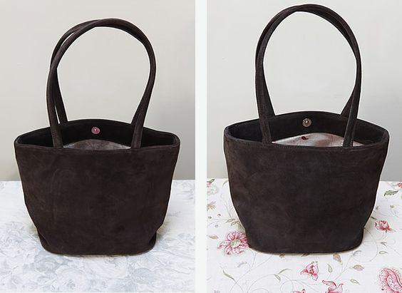 Brown suede handbag lined in a choice of 2 Kate Forman fabrics (Blue Roses or Octavia).  £99