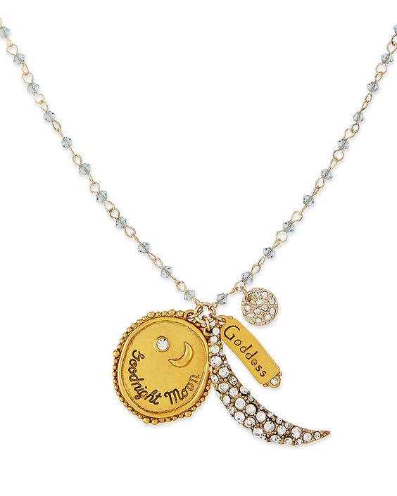 Goodnight Moon Talisman Necklace with Light Blue Beads